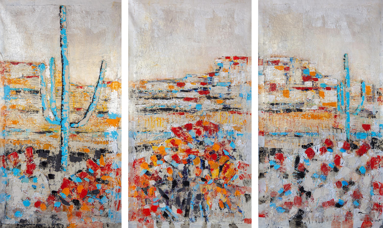Lisa Macchiaroli - Spring in the Mojave - Triptych 65x105 - (65x35)